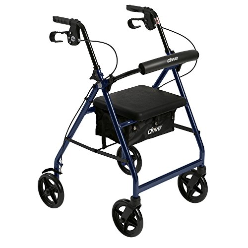 Drive Medical Aluminum Rollator Walker Fold Up and Removable Back Support, Padded Seat,7.5″ Wheels, Blue