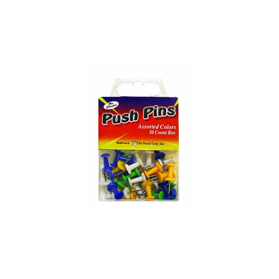 Pencil Grip The Classics Push Pins, Assorted Colors, 30 Pins per Box