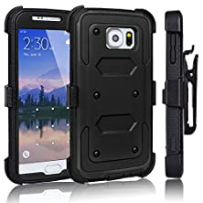 buy Galaxy S6 Case, Tekcoo(Tm) [Tshell Series] [Coal Black] Shock Absorbing [Kickstand] Holster Locking Belt Clip Defender Heavy Duty Combo Case Cover Shell For Samsung Galaxy S6 S Vi G9200 All Carriers