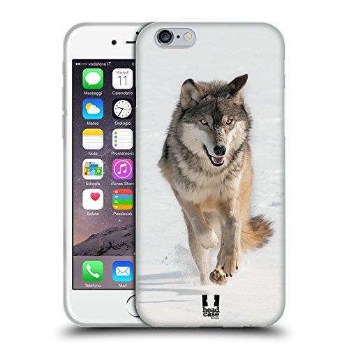 Head Case Designs Lupo Grigio Che Corre Animali Selvatici Cover Morbida In Gel Per Apple iPhone 6 / 6s