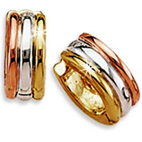 .925 Sterling Silver Gold Tri-tone Band Designer Hoop Huggy Earrings