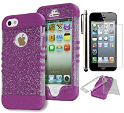 iPhone SE Case, Bastex Heavy Duty Hybrid Protective Case - Soft Neon Purple Silicone Cover with Clear Sparkly Glitter Design Shell for Apple iPhone SE, 5, 5S, 5G**INCLUDES SCREEN PROTECTOR AND STYLUS