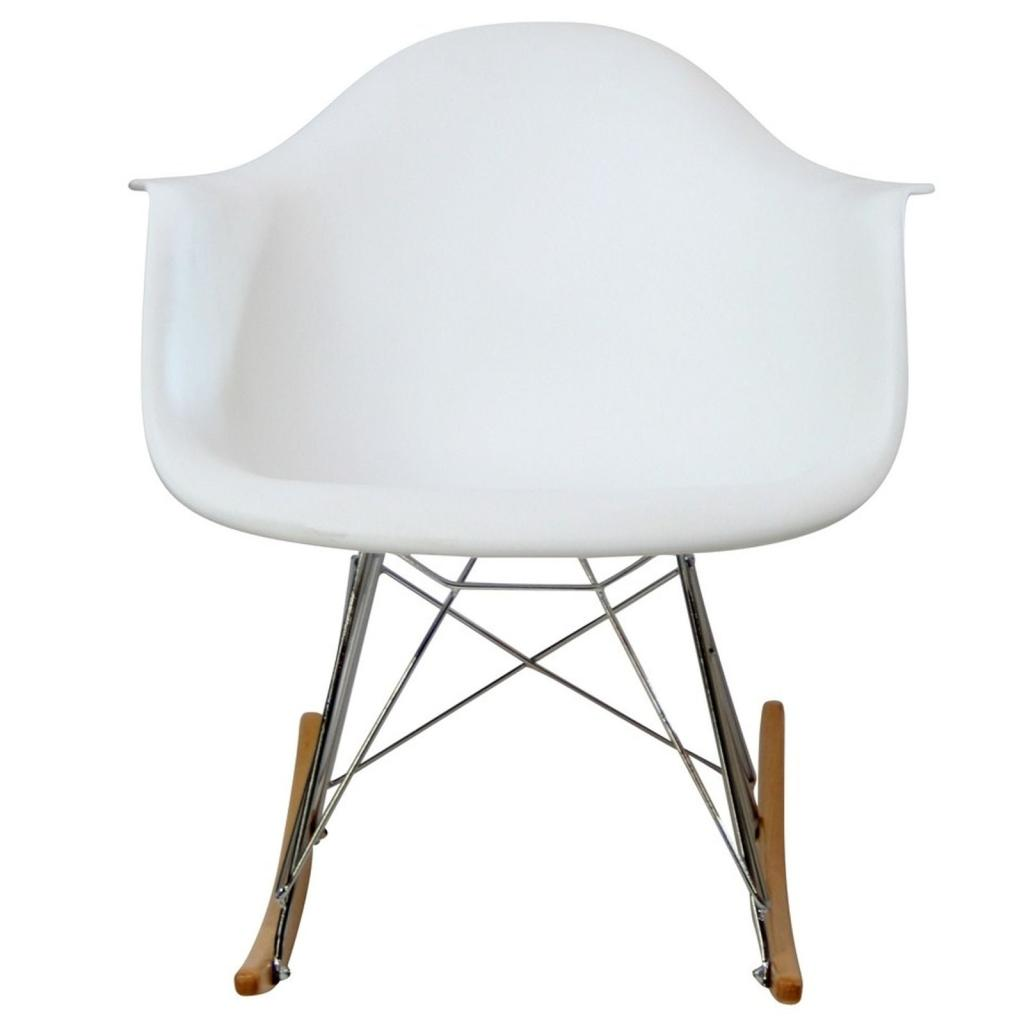 ... com - LexMod Molded Plastic Armchair Rocker in White - Rocking Chairs
