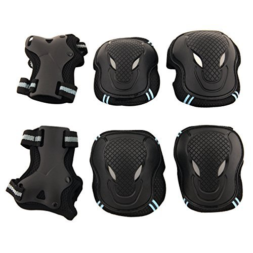 Tera Skateboard Roller Blading Elbow Knee Wrist Protective Safety Gear Pad Guard 6pcs Set Size L Color Blue