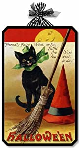 Item 05006 Black Cat Vintage Victorian Style Halloween Plaque
