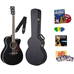 Yamaha FSX720SC Black Acoustic-Electric Guitar Bundle with Yamaha Hard Case, DVD, Picks, Strap, Strings, Pick Card, and Polishing Cloth