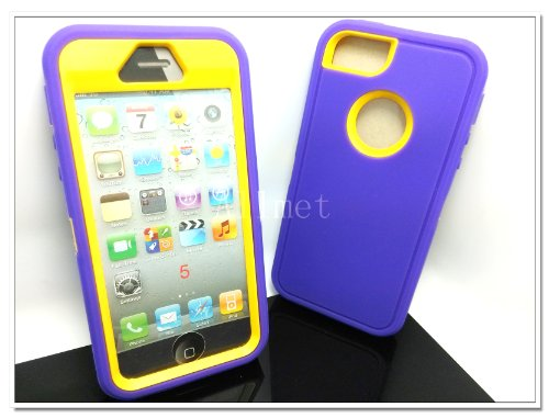 Multi Color Iphone 5 5S Body Armor Silicone Hybrid Cove Hard Case, Three Layer Silicone PC Case Cover for iPhone 5 5S (Purple+Yellow)