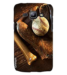 Omnam Leather White Ball With Gloves Printed Designer Back Cover Case For Samsung Galaxy J1
