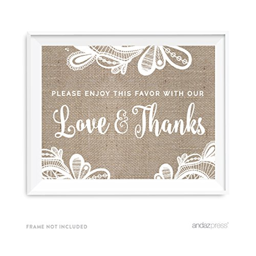 Andaz Press Burlap Lace Print Wedding Collection, Party Signs, Please Enjoy This Favor With Our Love and Thanks, 8.5x11-inch, 1-Pack