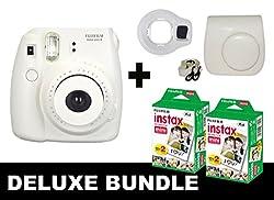 Fujifilm Instax Mini 8 - White + 40 Pack Instax Film + White Case + White Selfie Mirror