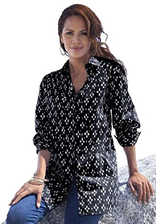 Roamans Women's Plus Size Kate Print Bigshirt (Black Print,1X)