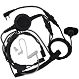 Tenq® Military Grade Tactical Throat Mic Headset/earpiece with BIG Finger PTT for Baofeng Radios Walkie Talkie 2 Pin Jack