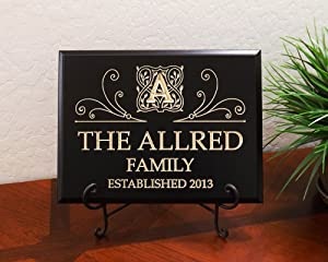 "Timber Creek Design Decorative Carved Wood Sign Personalized with Monogram, Family Name and Year Established 3D Carved 12""x9"" Black - Indoor"