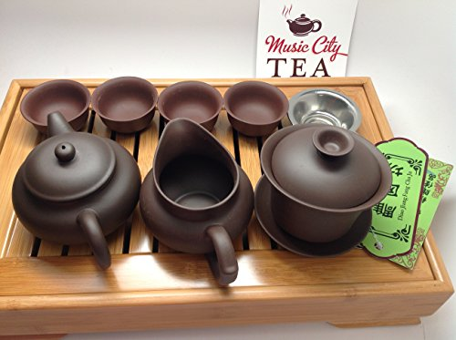 Yixing Tea Set Brow Zhisha Facy Set With A Medium Size Bamboo Tea Tray