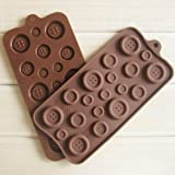 Buyinhouse Adorable Button Shaped Ice/Cake/Chocolate/Sugar Decorating Silicone Mini Cube Craft Fondant Mold Tray(Send by Random Colour)