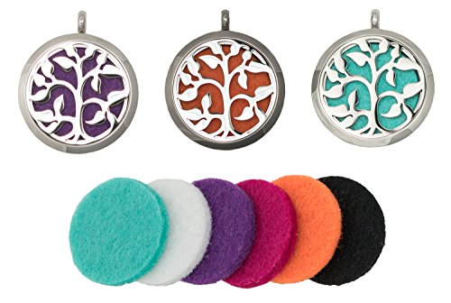 """Aromatherapy Essential Oil Diffuser Necklace Gift Set, Stainless Steel Tree Locket, 23"""" Chain with 2"""" Extension, 3 Interchangeable Inspiration Jewelry Charms + 6 Refill Pendant Pads + Oil"""
