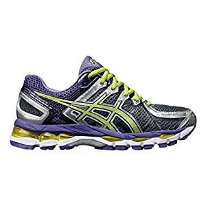 ASICS Women's Gel-Kayano 21 Running Shoe,Charcoal/Sharp Green/Purple,9 M US