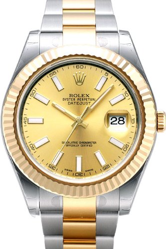 Rolex Datejust II Steel/Yellow Gold Watch, Champagne Index Dial