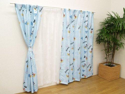 ディズニー ミッキーマウスドレープカーテン『ミッキー』【IT】100×135cm2枚組ブルー(#9826636)
