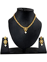 Hashcart Designer Gold Plated With Diamond And Pearl Necklace Set For Girls And Women