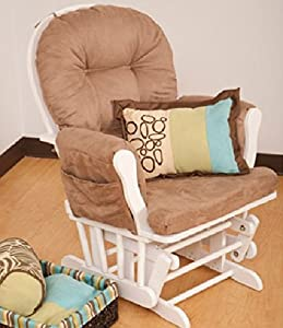 Storkcraft - Hoop Glider, White with Mocha Cushio