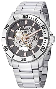 "Stuhrling Original Men's 773.03 ""Aquadiver Antilles"" Stainless Steel and Gray Skeleton Dial Automatic Watch"