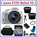 Canon EOS Rebel SL1 DSLR Camera with EF-S 18-55mm f/3.5-5.6 IS STM Lens Bundle- 11 Items: 32GB SDHC Memory Card, Card Reader, Camera Bag, Telephoto & Wide Angle Lenses, Spare Battery, Mini Tripod, Memory Card Wallet. 58mm UV Protection Filter and Lens Cle