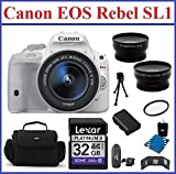 Canon EOS Rebel SL1 DSLR Camera with EF-S 18-55mm f 3.5-5.6 IS STM Lens Bundle- 11 Items: 32GB SDHC Memory Card - Card Reader - Camera Bag - Telephoto & Wide Angle Lenses - Spare Battery - Mini Tripod - Memory Card Wallet. 58mm UV Protection Filter and Lens Cleaning Kit
