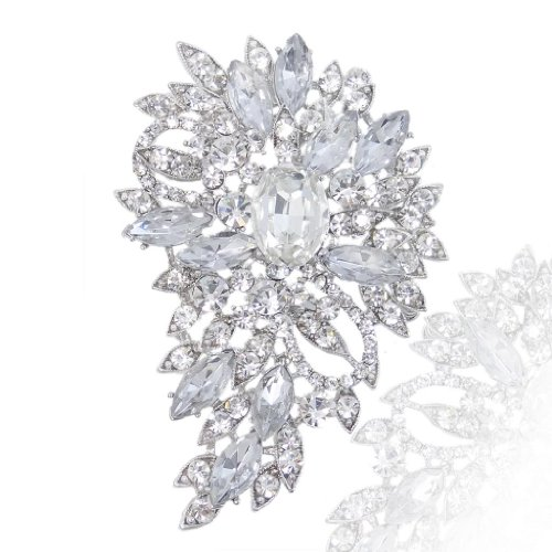 EVER FAITH® Wedding Silver-Tone Flower Leaf Brooch Pendant Clear Austrian Crystal (Crystal Brooch compare prices)