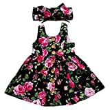 Rjxdlt Baby Girls Dresses Flower Printed Skirt Dress 12-18 Months