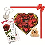 Skylofts 9pc Romantic Chocolate Heart Box With Cute Teddy, A Love Card & A Heart Key Ring