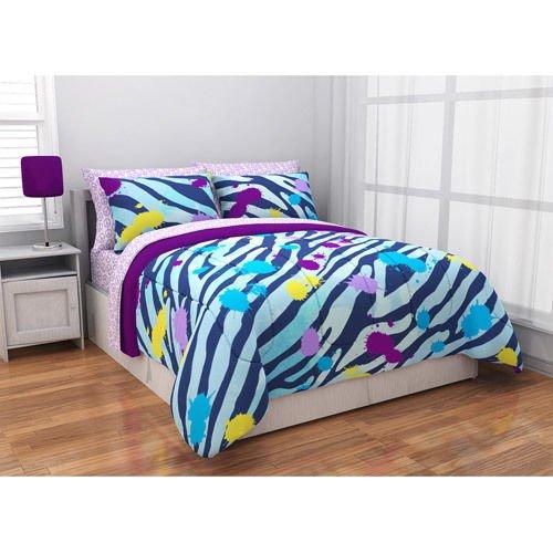 Bedding Quilt Comforter Bed Set Zebra Purple Reversible Bedspread Bed In A Bag front-992348