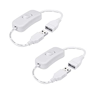 2 Pack Male To Female USB Cable W On//Off Switch Extension Inline Rocker For Driv