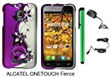 Alcatel One Touch Fierce 7024W (T-Mobile) Premium Pretty Design Protector Hard Cover Case + Travel (Wall) Charger & Car Charger + 1 of New Metal Stylus Touch Screen Pen (Purple Silver Black Vine)