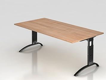 Supporto scrivania C 200x 100cm, noce/argento