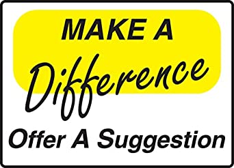 """Signs MGNF564VP Plastic Suggestion Box Sign, Legend """"MAKE A DIFFERENCE"""