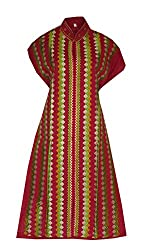 Phulkari Craft Women's Cotton Unstitched Kurti (PC0034_Red_Free Size)