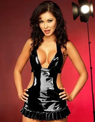 Irall Erotic Jade Black Wetlook Figure Huggesing Dress