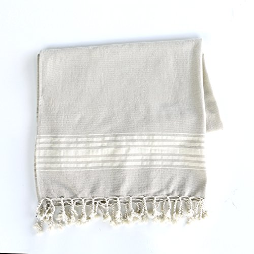 Telo Pareo Mare Fouta 90 x 175 cm con frange, Col. Bamboo - 100% Puro cotone con retro in spugna -Tinto in Filo - Annodato a Mano