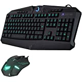 Ergonomic 7-Colors LED Keyboard + Mouse Illuminated Backlit Multimedia Gaming Keyboard and Mouse Combos - Waterproof USB PC Desktop Keyboard and Mouse Set