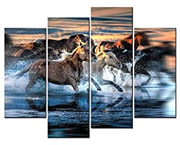 SmartWallArt - Animal Paintings Wall Art a Lot of Horses Running in River Splash Water Around Them 4 Panel Picture Print on Canvas for Modern Home Decoration