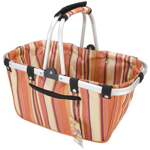 JanetBasket Large Aluminum Frame Basket, 18-Inch x 10-Inch x 9.5-Inch, Brown Stripes by NCM Canada, Inc.