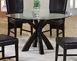 Dining table with round glass top in rich for Round glass dining table