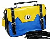 Womens Faux Leather Shiny Satchel/Handbag by Envy Colour Blue/Yellow Style 8045