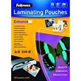 Fellowes Enhance A4 80 Micron Laminating Pouches (Pack of 25)by Fellowes