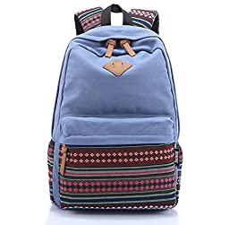 Hmxpls Unisex Fashionable Canvas Zip Bohemia Boho Style Backpack School College Laptop Bag for Teens Girls Boys Students light blue
