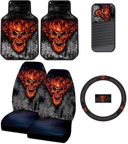 Floor Parking Mats Raging Inferno Devil Skull Flames Smoke 6pc