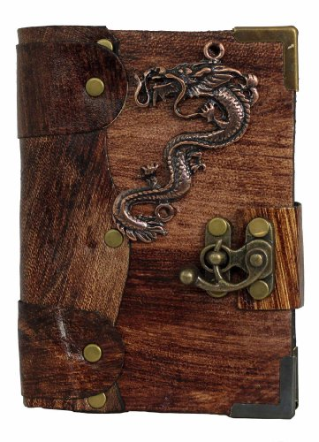 chinese-dragon-pendant-on-a-brown-leather-journal-notebook-daily-diary-sketchbook-pad-handmade-pocke