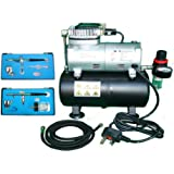 FoxHunter KMS Airbrush Kit AS186 AS 186 with Compressor with Tank with 2 x Double Action Airbrushes and Hose