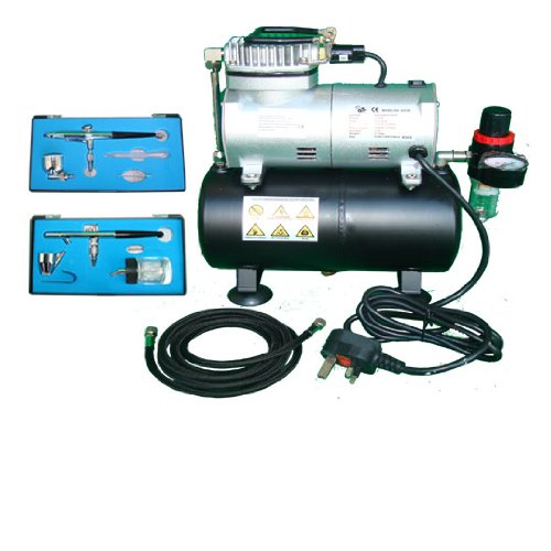 KMS Airbrush Kit AS186 AS 186 with Compressor with Tank with 2 x Double Action Airbrushes and Hose